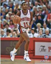 """Isiah Thomas Detroit Pistons Autographed 16"""" x 20"""" Dribbling in White Photograph"""