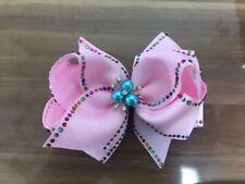 "4 BLESSING Girl 4.5"" Shine Hair Bow Clip Rhinestone Rainbow Pearl Flower"