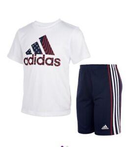 Adidas American Flag Little Boys Tee & 3 Stripes Short Set, White/Black Size 6
