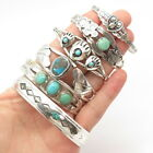 Old Pawn Navajo Sterling Silver Turquoise Set of 6 Tribal Cuff Bracelets BROKEN