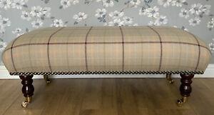 Footstool Stool In Laura Ashley Keynes Burgundy Fabric