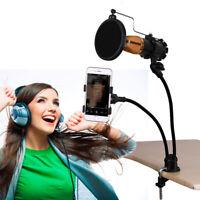 Phone Microphone Metal Flexible Gooseneck Mount Holder Set with Recording Filter