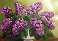 Antique oil painting still life with lilacs