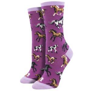 Socksmith Women's Crew Socks Joy Ride Horses Purple Novelty Footwear