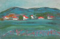 Vintage oil painting expressionist landscape houses