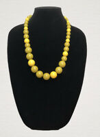 Vintage Necklace Graduated Olive Green Plastic Beads Pretty Retro Kitsch Costume