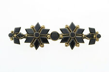 Antique Art Deco Gold-Tone Black Onyx Pin Brooch