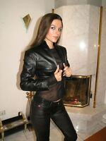 ECHTES LEDER Bolero Jacke Schwarz Real Leather Lederbolero Lederjacke L