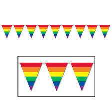 Rainbow Colour Pennant Bunting Stripe Gay Pride Festival Party Decoration