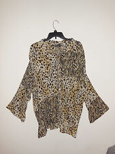 Essentials By Milano Plus 3 xl Brown Animal Print Button Down Shirt Top Blouse