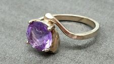 band Ring size 6 Vintage Sterling Silver Amethyst