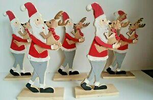 JOB LOT 5 x STANDING SANTA & REINDEER wooden Christmas decoration RUDOLPH NEW