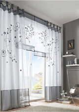 GS: Schlaufenschal Vorhang Gardine Gardinenschal Schlaufen Blumen Grün Grau