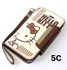 For iPhone 5C - BROWN HELLO KITTY LEATHER WALLET FLIP POUCH DIARY CASE COVER