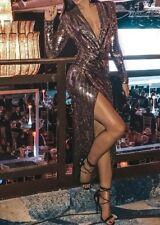 John Zack Gold Silver Sequin Wrap Over Plunge Maxi Midi Dress