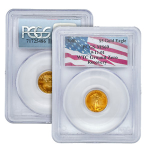 PCGS MS69 2001 9-11-01 WTC Ground Zero Recovery $5 Gold Eagle 9/11 Coin