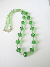 """1pc handmade necklace 20""""  12x8mm green faceted glass beads."""