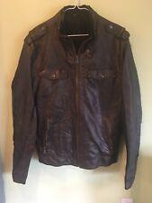 Calvin Klein Men's Faux Leather Brown Bomber Jacket (size Medium)