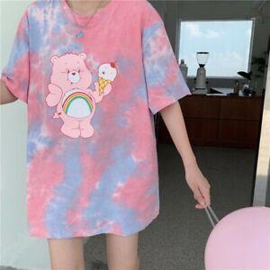 Care Bears T-shirt Large Mid Length Woman Girls Cheer Bear Tie-dye Cute Medium