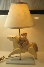 VINTAGE ~ WOODEN HORSE CAROUSEL W/ TEDDY BEAR NURSERY, NIGHT STAND LAMP