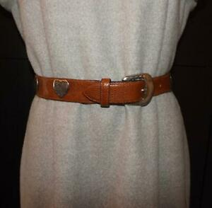 """Vintage HARRODS Leather Belt Faux Lizard with Hammered Metal Hearts 25ins-27ins"""""""