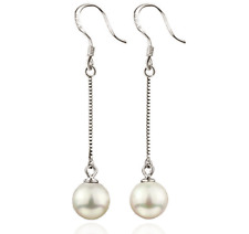 925 Sterling Silver Pearl long Drop Dangle Earrings Truly Womens Valentine Gifts