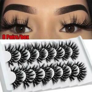 8 Pairs 3D Mink False Eyelashes Soft Crossed Long Thick Soft Fake Eye Lashes