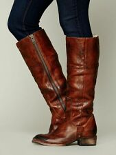FREEBIRD BY STEVEN SHOES WRANGLER TALL BOOT BROWN DISTRESSED LEATHER 8 $395