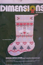 Americana Sampler Net Darning Lace Christmas Stocking Kit Personalize Dimensions
