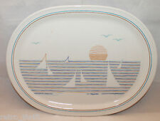 Vintage Figgjo Norway Regatta Large Serving Oval Plate 31cm Beach Sunset AS-IS
