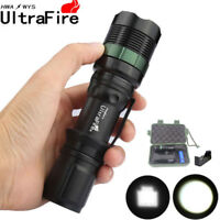 Tactical Zoomable 50000lm T6 LED Flashlight Lamp Torch 18650BTY+Charger+Case k