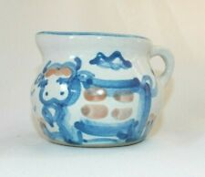 """MA Hadley 2"""" COUNTRY Creamer, Spotted Cow, Blue Trim Hand-Painted Ceramic USA"""