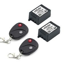 Ac 220V 2X1Ch Relay Rf Wireless Smart Remote Control Switch 2 Transmitter Black