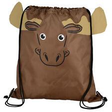 Moose - Childrens Animal Draw String Backpack Sport Pack Tote Bag