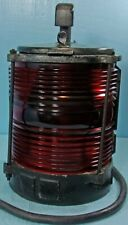 Vtg. Marine Navigation Light Fixture Red Fresnel Glass Lens