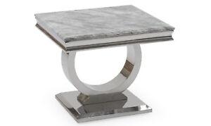 New Rani White Marble & Chrome Lamp Table