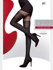 Collant fantaisie sexy femme noir effet bas opaque microfibre 60 den FIORE G5543