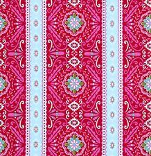 SALE Love & Joy Flower Stripe Dena Designs PWDF155 RED 1 Yard