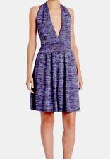 M Missoni NWT Women's Purple Blue Metallic Knit Halter Dress Size 44 IT , US 8 M