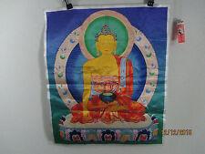 altes Buddha Thangka Bild Tibet Mitbringsel von 1970 Seide Holzdruck 55cm