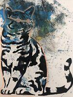 Hasworld original Abstract Crazy Cat Graffiti,Street Pop,expressionist  Kunst