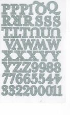 Iron on Letters & Numbers Silver Glitter Alphabet Sparkle Transfers 102 pieces
