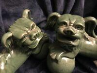 "Vintage Ceramic Celadon Glaze Chinese Foo Dog Shisha Lions Guardians Pair 7.5"" D"