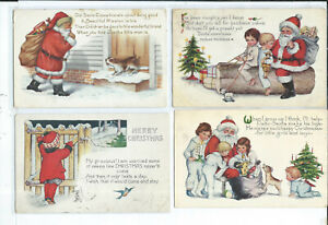 Lot of 4 Santa Claus Postcards Christmas Holiday