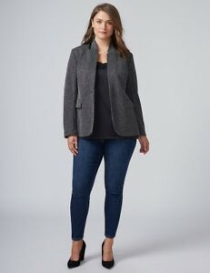 NEW LANE BRYANT THE BRYANT BLAZER BLACK TEXTURED DOT JACKET PLUS SIZE 16