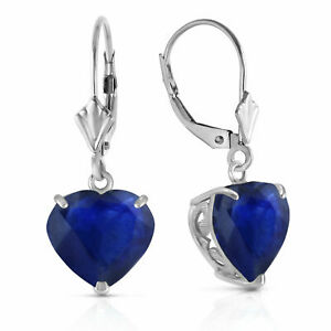 Genuine Sapphire Heart Gemstone Leverback Earrings 14K. Yellow, White, Rose Gold