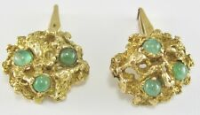 VERY NICE MEN'S 14K YELLOW GOLD JADE CUFFLINKS 23.2G