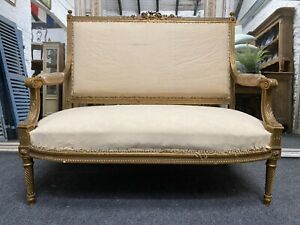 French Gilt Wood Settee Sofa Couch 19th Century Upholstered
