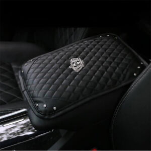 Bling Crown Diamond Rhinestone Black Leather Armrest Box Rail Pad Mat