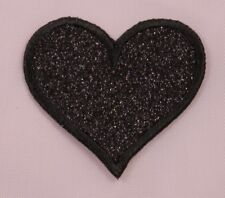 "Embroidered Black Glitter Sparkle Heart 2"" Love Jacket Applique Patch Iron On"